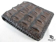 PELGIO Genuine Crocodile Alligator Hornback Skin Leather Handmade Wallet Brown