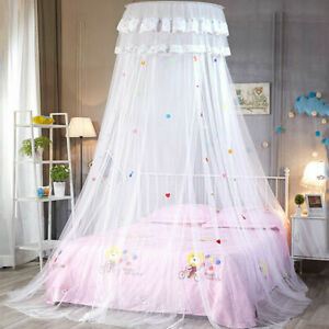 Women Princess Lace Bed Mosquito Netting Mesh Canopy Round Dome Home Bedding Net