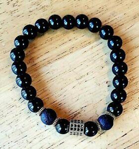 8MM Black Onyx and Lava Stone Bead Bracelet for Men