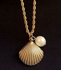 Gold Plated Sea Life Necklace Pearl Shell Pendant Island Beach 18 inch USASeller