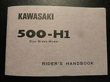 1972 Kawasaki 500 H1B H1-B Rider's Handbook Owner's Manual Riders Owners Service