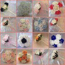 Flores Niña Dama De Honor Boda Ramo Artificial Rose Cristal muchos Colores!!!