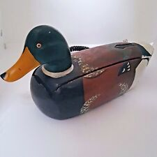 Vintage Painted Wooden Mallard Duck Decoy Telemania Quack Phone MTV Jersey Shore