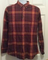 Massimo Dutti Men's Shirt M Orange Purple Brown Plaid Button Front Long Sleeve