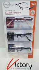 3 Pk Design Optics Semi-Rimless Ladies Fashion Reading Glasses +1.25 W/Cases V19