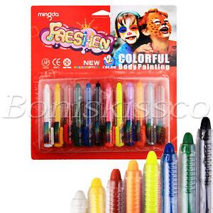 12 Colors Face Painting Pencils Wax Crayon Joker Makeup Washable Kids Halloween