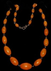 Art Deco Yellow orange veined glass graduated bead rolled gold necklace vintage
