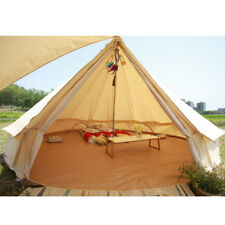 UNISTRENGH 6M Canvas Bell Tent Waterproof Glamping Outdoor Tent W/ Stove Jack