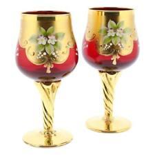 GlassOfVenice Set of Two Murano Glass Wine Glasses 24K Gold Leaf - Red