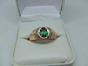 men's 10k yellow gold emerald & diamond ring size 11.5