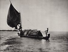 1928 Original INDIA Malabar Coast Sailboat Backwater Nautical Photo By HURLIMANN