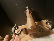 Antique 6 Light Arm Tin Chandelier Country Gothic Medieval