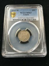 1880H  Obv#1  PCGS Graded Canadian,  10 Cent, **MS-63**