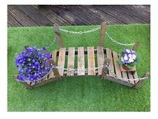 Decorative Wooden Garden Bridge Planter with Metal Chains Indoor & Outdoor Use