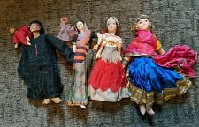 4 Vintage Dolls Cloth Ethnic Costume Painted Faces Antique. Doll w/ baby comp