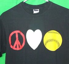 PEACE LOVE & BASEBALL Gildan Unisex M Black SS T Shirt FOR THE AVID BASEBALL FAN