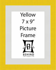 Handmade Yellow Wooden Picture Frame With Mount - 7 x 9''