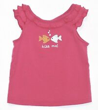 """Gymboree """"Floral Reef"""" Kiss Me Fish Bubbles Ruffled Pink Tank Top, 2T"""