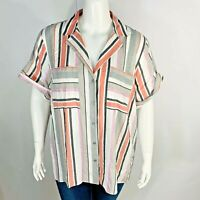 New Jones New York Womans Striped Shirt Button Front Plus Sz 3X Short Sleeve NWT