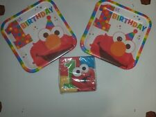 Sixteen Elmo Turns One Birthday Paper Plates & One Package Of 16 Beverage Napkin