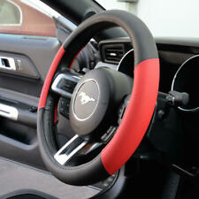 Steering Wheel Cover Two Tone Red Microfiber PU Leather Car Truck SUV Protection