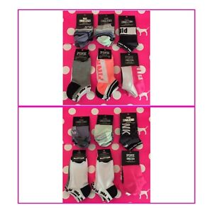 Details about  /2 PAIRS VICTORIA/'S SECRET PINK NEON RED WHITE BLACK NO SHOW ULTIMATE SOCKS O//S