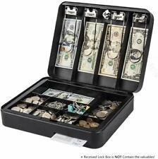 Cash Drawer Register Box Money Tray Case Travel Storage Key Lock Safe Black NEW