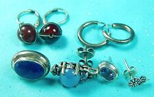 Vintage Sterling Silver Earrings Lot Set Stone Flower Parts Mix & Match Jewelry