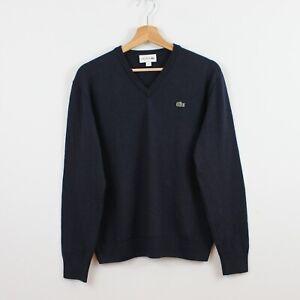 O67 Lacoste Men Navy BlueV-neck Jumper Sweater Wool Acrylic Knit Size 5 L