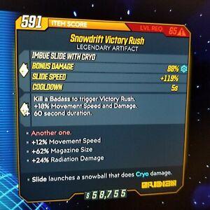 (Xbox) Borderlands 3 [Level 65] Snowdrift Victory Rush (12Speed/62Mag/24Rad)
