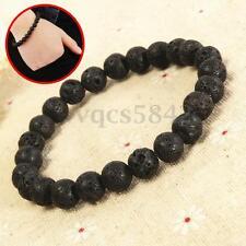 8mm Men's Bracelet Lava Stone Rock Beaded Stretch Yoga Gemstone Mala Beads US
