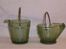 Vintage Ash Tray Green Glass Coal Bucket w/ Handle Set  / Toothpick Holder