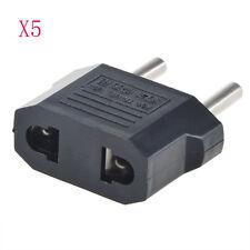 5pcs US USA to EU Euro Europe Power Jack Wall Plug Converter Travel Adapter