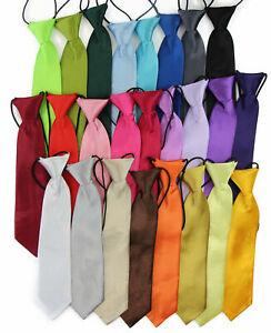 Boys New Elasticised Neck Tie Necktie Elastic Plain Kids Children Party Wedding