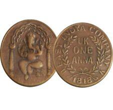 EAST INDIA COMPANY. UK 1818 ONE ANNA COPPER  GANESHJI ANTIQUEOLD COIN