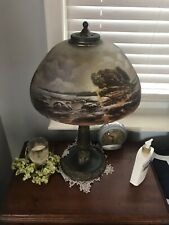 Antique Arts and Crafts Reverse Painted Lamp