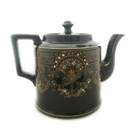 Unidentified Vintage Teapot Black With Gold Trim