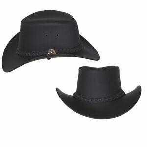 Australian Style Leather Outback Cowboy Bush Hat Men Women Brown & Black By TMS