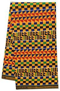 African Fabric Beautiful Multi Color Kente Wax Print Sewing Craft Per Yard