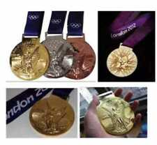 London 2012 Olympic Silver/Gold/Bronze Medals with Silk Ribbons & Display Stands