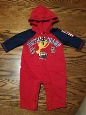 Baby Boys Infant Hooded Romper Bodysuit Jumpsuit size Newborn 0-3 Football Champ