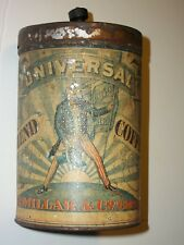 1900 UNIVERSAL BLEND COFFEE CAN Tin UNCLE SAM Millar Chicago BALD EAGLE Graphic!