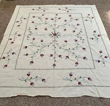UZBEK BEAUTIFUL VINTAGE HANDMADE EMBROIDERY WALL HANGING TABLECLOTH SUZANI