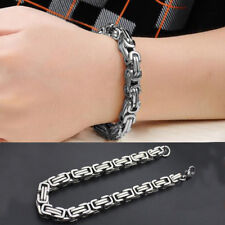 Men's Silver Byzantine Stainless Steel Chain Wristband Cuff Bangle Bracelet 5mm