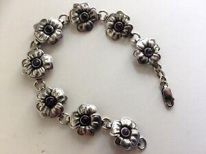Vintage Scandinavian Sterling Silver & Amethyst Set Bracelet.