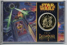 NEW DISNEY STAR WARS WEEKENDS 2014  Limited PASS HOLDER 24KT GOLD PLATED COIN