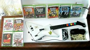Xbox 360 Guitar Hero Xplorer Controller White Redoctane 95157.805 w/ 9 Games