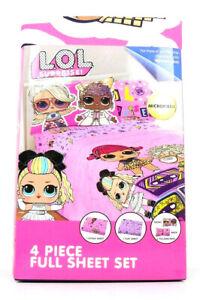 L.O.L. LOL Surprise! SOFT REMIX 4 Piece FULL SIZE Microfiber Sheet Set NEW