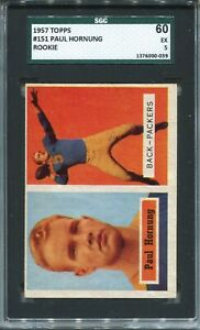 1957 Topps Football #151 Paul Hornung Rookie Card RC Graded SGC Ex 60 Packers