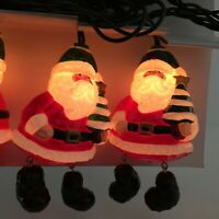 Holiday Living Santa Christmas Lights Set 10 String Bag Tree Blow Mold Novelty